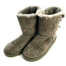 UGG Australia Bailey Bow II Gray Sheepskin Winter Boots Kids Youth Size 3  [07]
