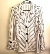 DressBarn Blouse Plus Size 3x Button Front Long Sleeve V-neck Striped