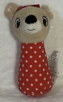 Clarice 4.5 inch Rudolph the Red Nosed Reindeer baby rattle Red Polka Dot