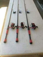 3 lot of Abu Garcia Red Max Spinning Rod And Reel Combos 7' feet long Brand New