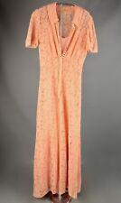 VTG Women's 30s Peach / Pink Lacy Long Dress Sz S #2586 1930s