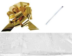 LAST FEW - 61x76cm Cellophane Snowflake Print Hamper Basket with Gold Ribbon
