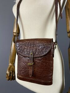 MULBERRY Vintage Cognac Nile Congo Leather Saddle Binocular Crossbody Bag Auth
