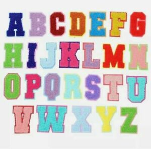 Multi Colour Chenille Letter Patch Patches Iron On Towel Alphabet Embroidery