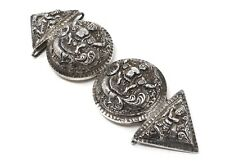 A Lovely Heavy Antique 19th Century Solid Silver Indian Buckle #WH