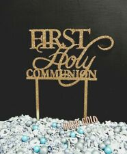 1ST HOLY COMMUNION &/OR CROSS TIMBER RAW ROSE GOLD GLITTER CAKE TOPPER SIGN WOOD