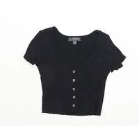Primark Womens Size 6-8 Textured Cotton Blend Black Button Detail Top (Regular)