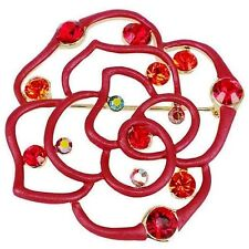RUCINNI  Red Rose Brooch with Swarovski Crystal and 20K Gold Plated