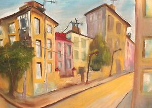 Vintage impressionist gouache painting cityscape