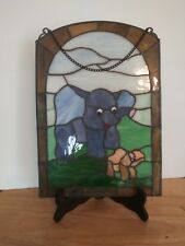 Vintage Elephant Stained Slag Glass Window Hanging