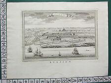 c1750 GEORGIAN PRINT ~ ACHEM AXIM VIEW FROM SEA PORT TOWN WEST AFRICA ~