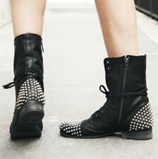 Europe Trendy Womens Ladies Studded Ankle Boots Spikes Biker Punk Chunky Heels