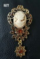 Large Vintage Victorian Style Crystal  Cameo Brooch Gold  Diamante Flower Pin