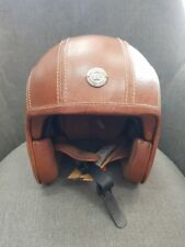 Royal ENFIELD Helmet Open Face Leather Tan Genuine Retro Cafe Racer Medium 58cm