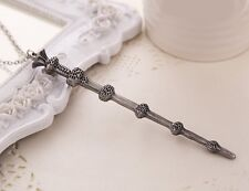 Harry Potter Dumbledore Wand Necklace Silver 20cm US Seller