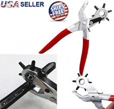 "9"" Heavy Duty Leather Hole Punch Hand Pliers Belt Holes 6 Sized Puncher Tool New"