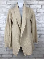 LL Bean Women's Heathered Tan Wrap Cardigan Sweater Open Front Size Medium