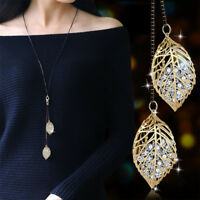 Women Fashion Rhinestones Leaf Pendant Necklace Long Sweater Chain Jewelry Gift