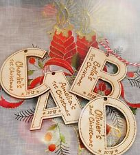 Personalised Wooden Letter Child's First Christmas Tree Decoration