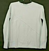 New DKNY Women's XS White Cotton Long Sleeve Crewneck Pullover Heavy Sweater