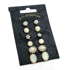 6 pairs of Gold Coloured Pink & Opal Stud Earrings RRP £5.00 - Brand New + Tags
