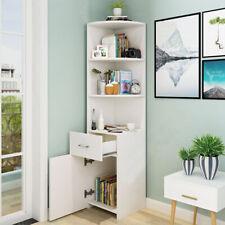 White Corner Bookshelf Shelf Bookcase Display Sideboard Book Shelves Unit Cabine