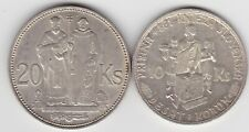 More details for two slovakia silver coins 20 & 10 korun in extremely fine or better condition