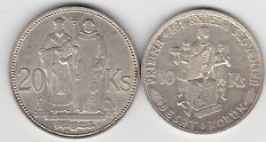 TWO SLOVAKIA SILVER COINS 20 & 10 KORUN IN EXTREMELY FINE OR BETTER CONDITION