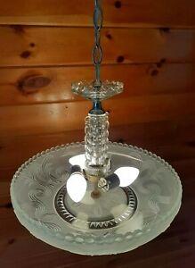 Antique Art Deco Large Heavy Glass & Chrome Chandelier Ceiling Light/lamp
