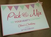 Handmade Personalised Bunting Candy Buffet Sweet Treats Sign - many colours!