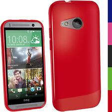 Rosso Gel TPU Custodia per HTC One MINI 2 2014 M8 Mini Case Cover Skin Pellicola