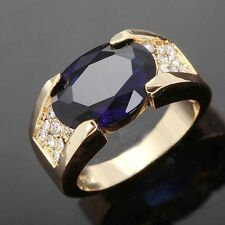 Size 11 Solitaire Blue Sapphire Simple 18K Gold Filled Mens Fashion Wedding Ring