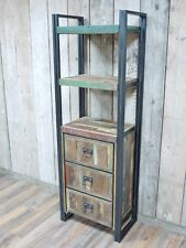 Rustic wood book cabinet shelving unit, industrial style display case