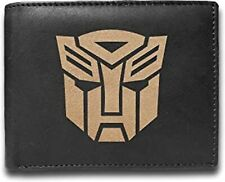 Transformers Genuine Cowhide Leather Laser Engraved Engraving Men Wallet Black