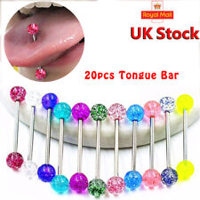 20Pcs Mixed Tongue Ring Body Piercing Jewellery Tounge Eyebrow Barbell Bar New