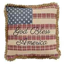 GOD BLESS AMERICA PILLOW : FLAG BURLAP PRIMITIVE RUSTIC RED BLUE TOSS CUSHION