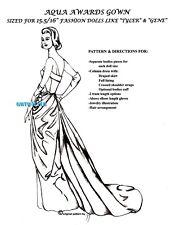 TYLER / GENE / FM doll GRACE KELLY 1954 AQUA AWARDS Ceremony DRESS PATTERN