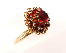 Sarah Coventry, Vintage 1960s Gold Tone Red Stone Flower Ring, Adjustable M to O