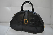 Authentic Christian  Dior Ostrich double saddle  Black Bag
