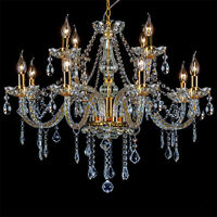 6-12 Light Crystal Elegant Glass Chandelier Pendant Ceiling Lighting Fixture US