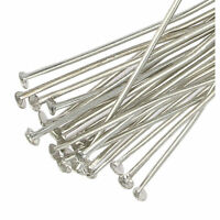 250 Silver Plated Flat Headpins 40mm Metal Head Pins Jewellery Making Findings
