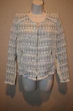 $1090 1/S IRO Uma White Silver Sparkle Leather Contrast Fringe Hem Blazer Jacket