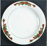 Set of 4 Poinsettia & Ribbons by Fairfield for Tienshan Dinner Plates