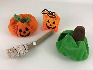 Build A Bear Halloween Costume Accessories Pumpkin 4pc Treat Bag Stem Hat Broom