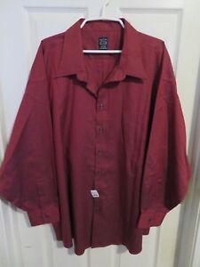 New Men's Joseph & Feiss Wine Red Long Sleeve Dress Shirt Big Tall Size 20 34/35