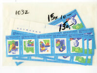 Korea Stamps # 1032 Stamp Lot of 15 NH Strips Scott Value $150.00
