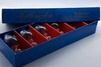 6 Vintage Bohemian Czech Cut Crystal Wine Glasses Wellington Pattern 150ML Boxed