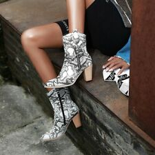 Womens Double Zip Chunky Ankle Boots Snake Print Punk Riding Mid Heels UK6 Sz39