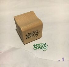 """2 miniature rubber stamps- """"Happy Spring"""" and """"I Miss You"""""""