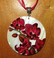 Dark PINK Orchid PENDANT Genuine Russian Hand Painted SHELL FLOWER Necklace GIFT